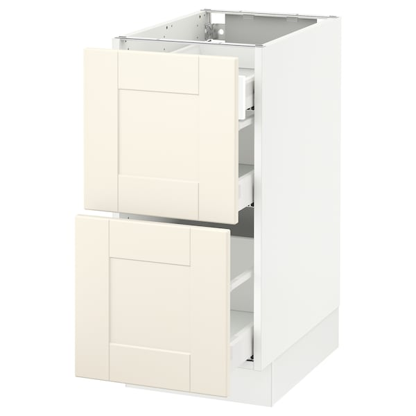 """SEKTION Base cab with 2 fronts/3 drawers, white Maximera/Grimslöv off-white, 15x24x30 """""""