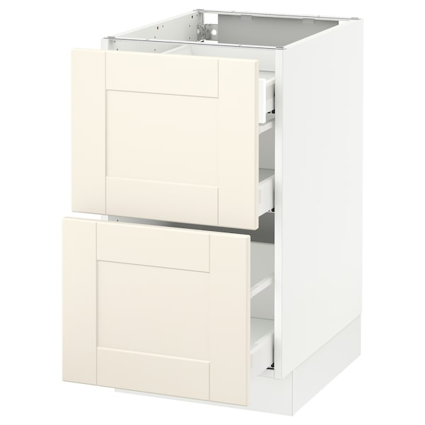 """SEKTION Base cab with 2 fronts/3 drawers, white Maximera/Grimslöv off-white, 18x24x30 """""""