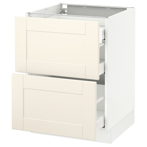 """SEKTION Base cab with 2 fronts/3 drawers, white Maximera/Grimslöv off-white, 24x24x30 """""""