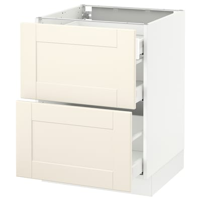 SEKTION Base cab with 2 fronts/3 drawers, white Maximera/Grimslöv off-white, 24x24x30 ""