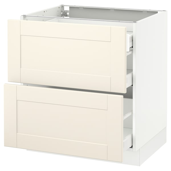 SEKTION Base cab with 2 fronts/3 drawers, white Maximera/Grimslöv off-white, 30x24x30 ""