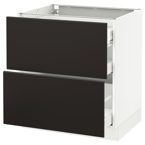 SEKTION Base cab with 2 fronts/3 drawers, white Maximera/Kungsbacka anthracite, 30x24x30 ""