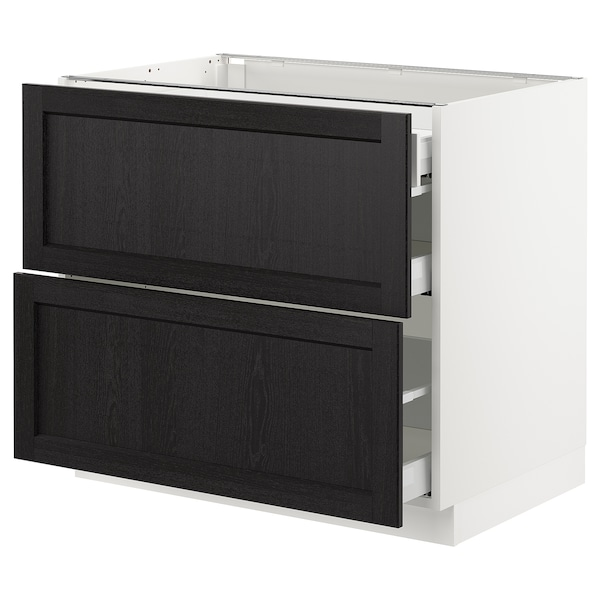 SEKTION Base cab with 2 fronts/3 drawers, white Maximera/Lerhyttan black stained, 36x24x30 ""
