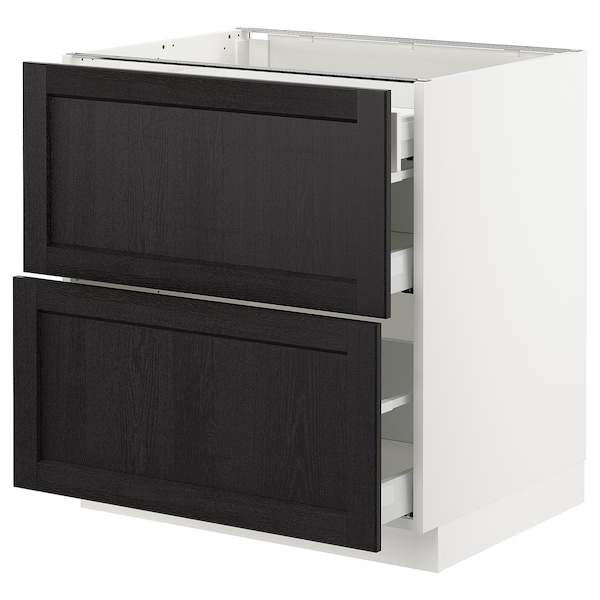 SEKTION Base cab with 2 fronts/3 drawers, white Maximera/Lerhyttan black stained, 30x24x30 ""