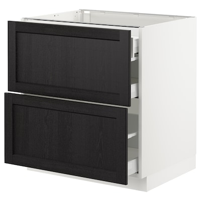 """SEKTION Base cab with 2 fronts/3 drawers, white Maximera/Lerhyttan black stained, 30x24x30 """""""