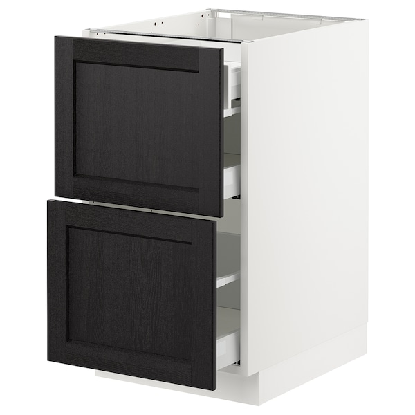 """SEKTION Base cab with 2 fronts/3 drawers, white Maximera/Lerhyttan black stained, 18x24x30 """""""