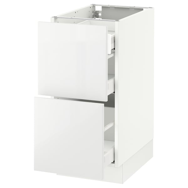 """SEKTION Base cab with 2 fronts/3 drawers, white Maximera/Ringhult white, 15x24x30 """""""