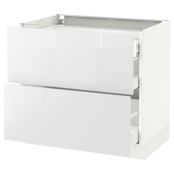 """SEKTION Base cab with 2 fronts/3 drawers, white Maximera/Ringhult white, 36x24x30 """""""