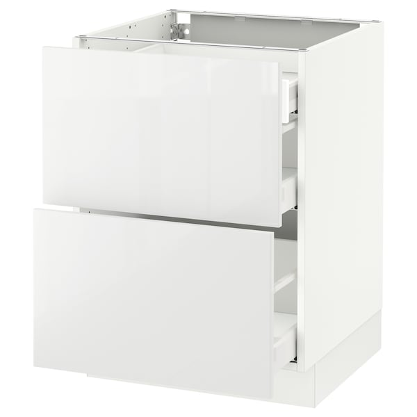 """SEKTION Base cab with 2 fronts/3 drawers, white Maximera/Ringhult white, 24x24x30 """""""