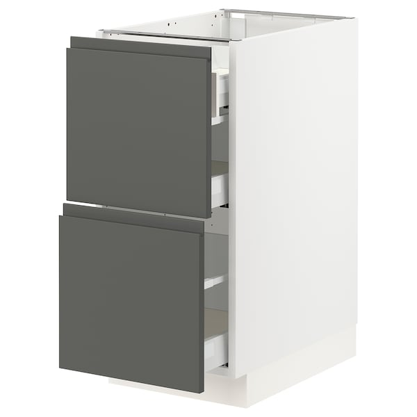"""SEKTION Base cab with 2 fronts/3 drawers, white Maximera/Voxtorp dark gray, 15x24x30 """""""