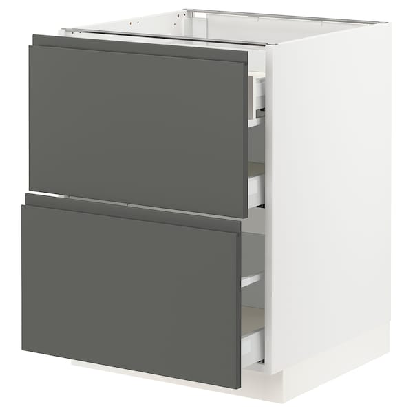 """SEKTION Base cab with 2 fronts/3 drawers, white Maximera/Voxtorp dark gray, 24x24x30 """""""