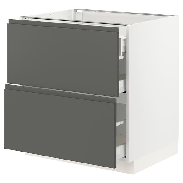 SEKTION Base cab with 2 fronts/3 drawers, white Maximera/Voxtorp dark gray, 30x24x30 ""