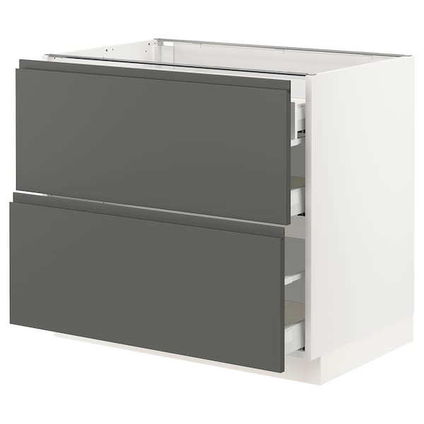 """SEKTION Base cab with 2 fronts/3 drawers, white Maximera/Voxtorp dark gray, 36x24x30 """""""