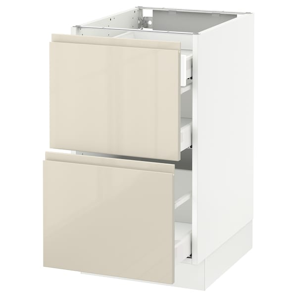 """SEKTION Base cab with 2 fronts/3 drawers, white Maximera/Voxtorp high-gloss light beige, 18x24x30 """""""