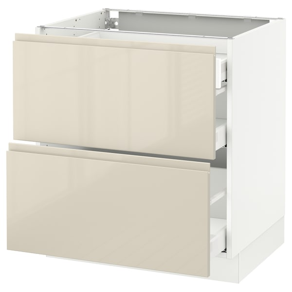"""SEKTION Base cab with 2 fronts/3 drawers, white Maximera/Voxtorp high-gloss light beige, 30x24x30 """""""
