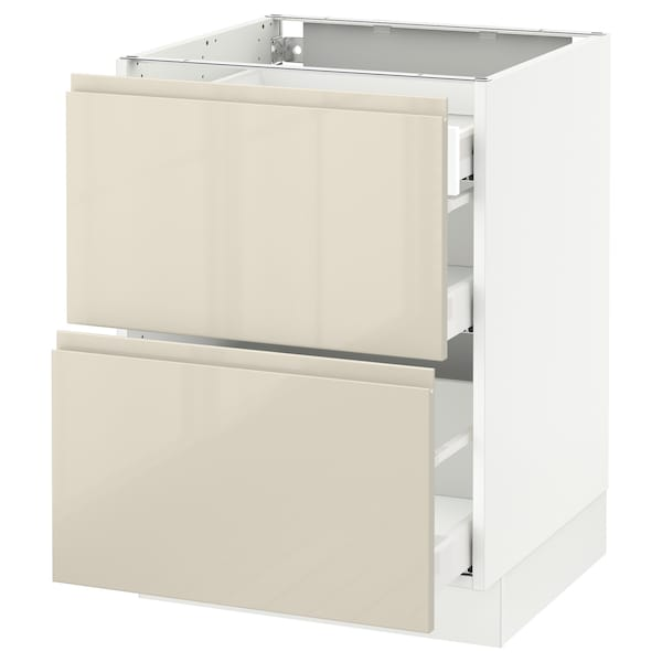 """SEKTION Base cab with 2 fronts/3 drawers, white Maximera/Voxtorp high-gloss light beige, 24x24x30 """""""