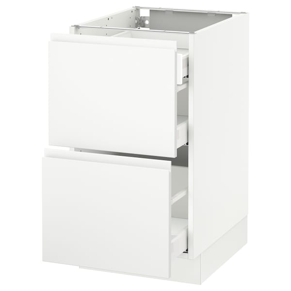 SEKTION Base cab with 2 fronts/3 drawers, white Maximera/Voxtorp matt white, 18x24x30 ""