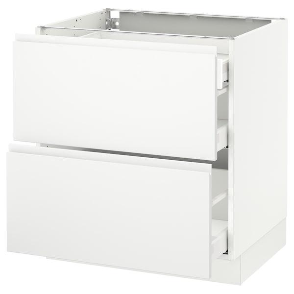 "SEKTION Base cab with 2 fronts/3 drawers, white Maximera/Voxtorp matt white, 30x24x30 """