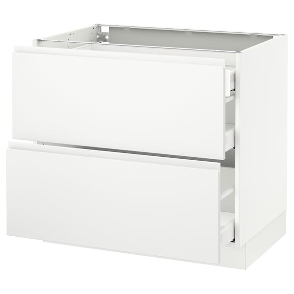 SEKTION Base cab with 2 fronts/3 drawers, white Maximera/Voxtorp matt white, 36x24x30 ""
