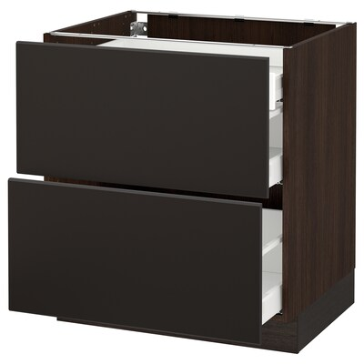 """SEKTION base cab with 2 fronts/3 drawers brown Maximera/Kungsbacka anthracite 30 """" 24 """" 24 3/4 """" 30 """""""