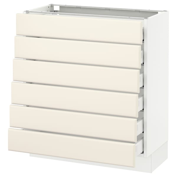 """SEKTION Base cabinet/6 fronts/6 low drawers, white Maximera/Bodbyn off-white, 30x15x30 """""""
