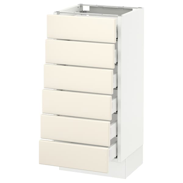 """SEKTION Base cabinet/6 fronts/6 low drawers, white Maximera/Grimslöv off-white, 15x15x30 """""""