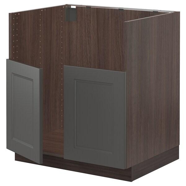 "SEKTION Base cabinet f/BREDSJÖN 2 bowl sink, brown/Axstad dark gray, 30x24x30 """