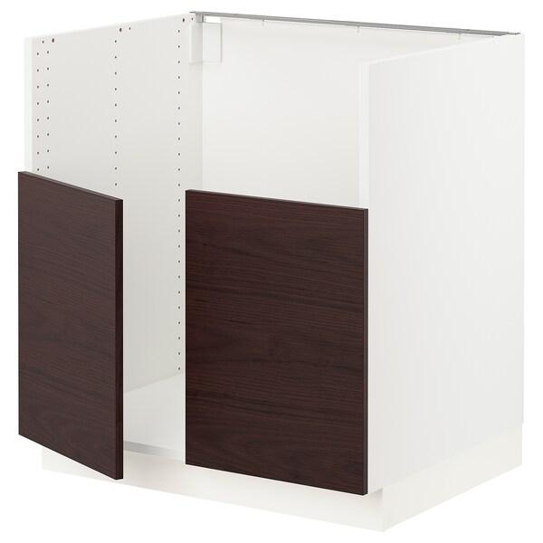 "SEKTION Base cabinet f/BREDSJÖN 2 bowl sink, white Askersund/dark brown ash effect, 30x24x30 """