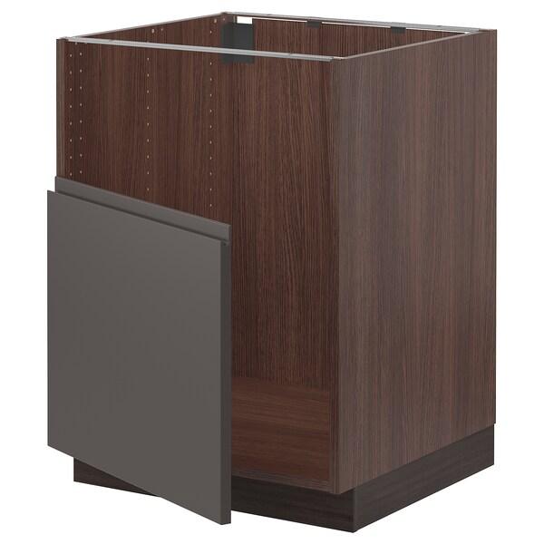"""SEKTION Base cabinet f BREDSJÖN sink, brown/Voxtorp dark gray, 24x24x30 """""""