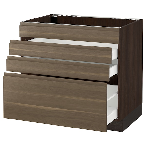 SEKTION Base cabinet f/cooktop w/3 drawers, brown Maximera/Voxtorp walnut, 36x24x30 ""