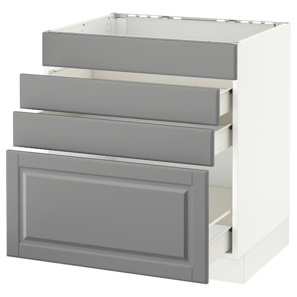 "SEKTION Base cabinet f/cooktop w/3 drawers, white Förvara/Bodbyn gray, 30x24x30 """