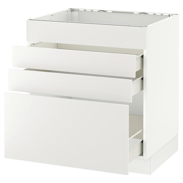 "SEKTION Base cabinet f/cooktop w/3 drawers, white Förvara/Häggeby white, 30x24x30 """