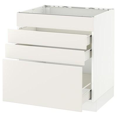 "SEKTION Base cabinet f/cooktop w/3 drawers, white Förvara/Veddinge white, 30x24x30 """