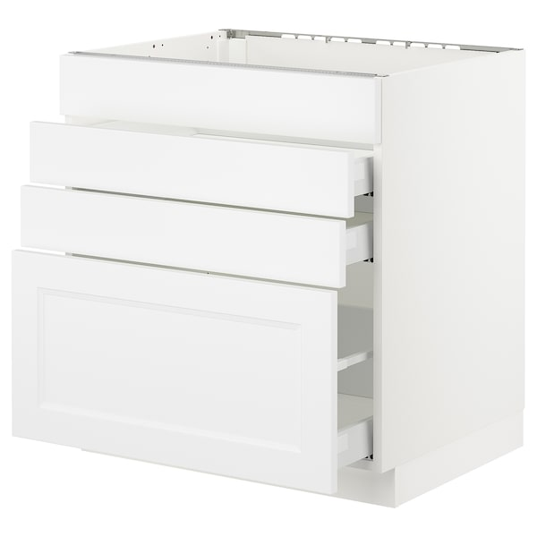SEKTION Base cabinet f/cooktop w/3 drawers, white Maximera/Axstad matt white, 30x24x30 ""