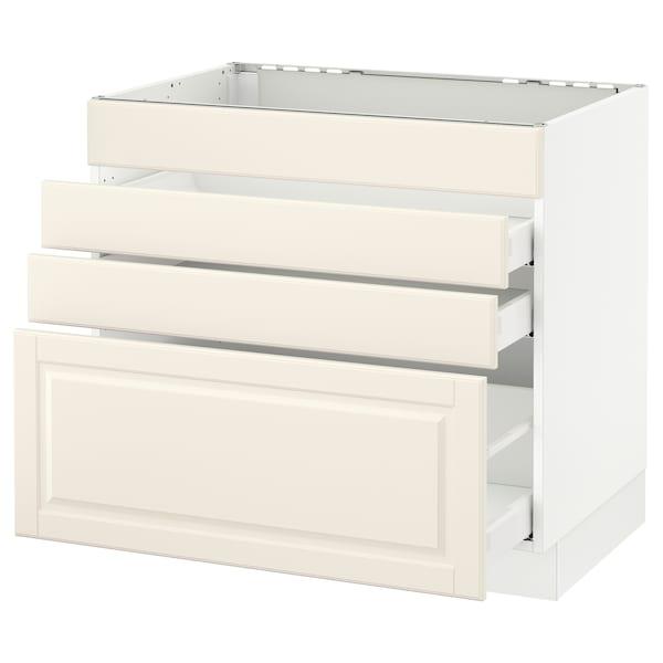 "SEKTION Base cabinet f/cooktop w/3 drawers, white Maximera/Bodbyn off-white, 36x24x30 """