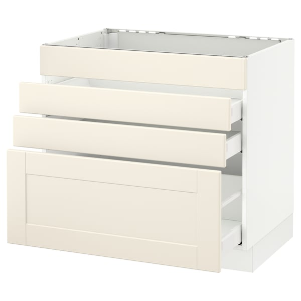 SEKTION Base cabinet f/cooktop w/3 drawers, white Maximera/Grimslöv off-white, 36x24x30 ""