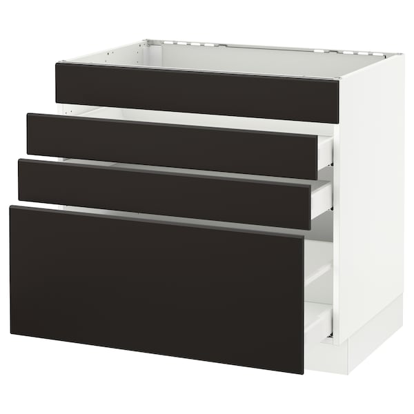 """SEKTION Base cabinet f/cooktop w/3 drawers, white Maximera/Kungsbacka anthracite, 36x24x30 """""""