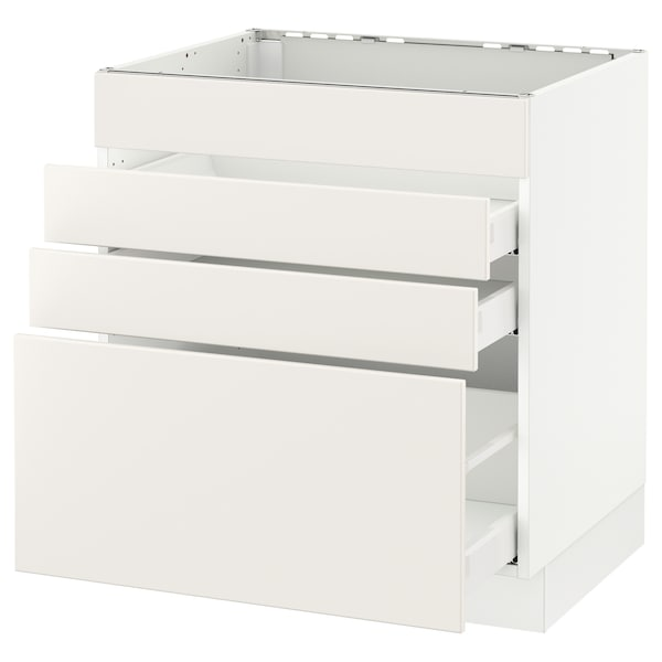 SEKTION Base cabinet f/cooktop w/3 drawers, white Maximera/Veddinge white, 30x24x30 ""