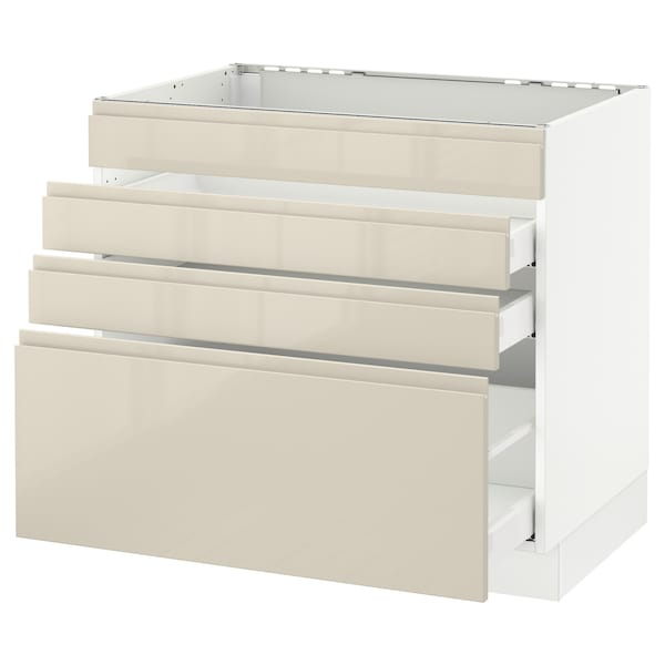 """SEKTION Base cabinet f/cooktop w/3 drawers, white Maximera/Voxtorp high-gloss light beige, 36x24x30 """""""