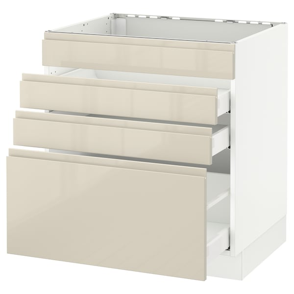 """SEKTION Base cabinet f/cooktop w/3 drawers, white Maximera/Voxtorp high-gloss light beige, 30x24x30 """""""