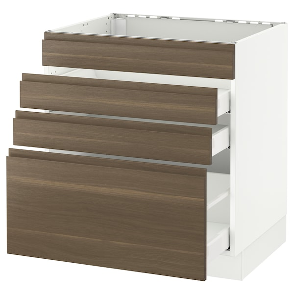 SEKTION Base cabinet f/cooktop w/3 drawers, white Maximera/Voxtorp walnut, 30x24x30 ""
