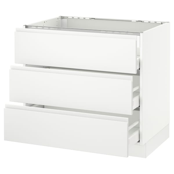 SEKTION Base cabinet f/cooktop w/3drawers, white Maximera/Voxtorp matt white, 36x24x30 ""