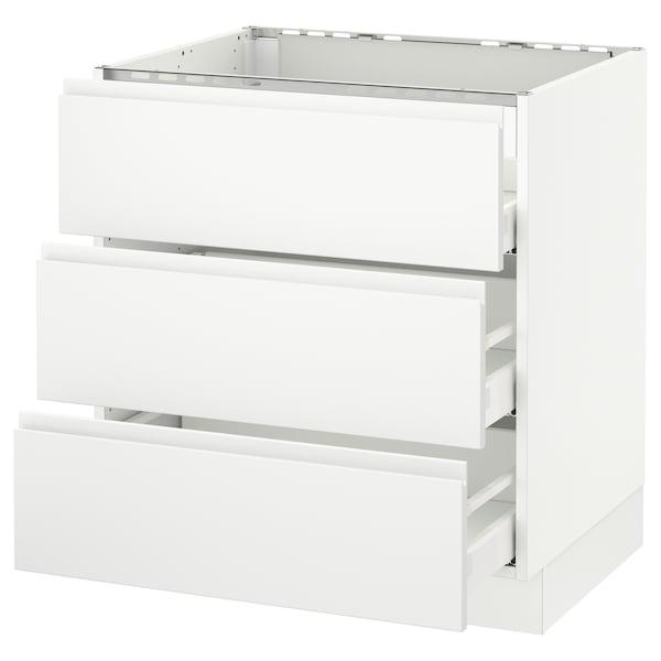 "SEKTION Base cabinet f/cooktop w/3drawers, white Maximera/Voxtorp matt white, 30x24x30 """