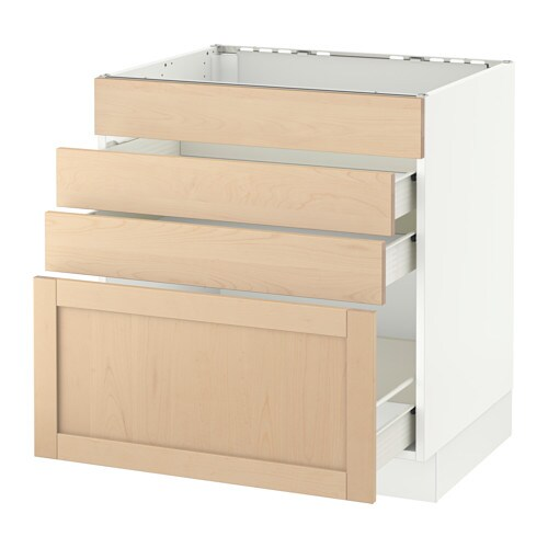 sektion base cabinet f cooktop w 3 drawers white f bj rket birch 30x24x30 ikea. Black Bedroom Furniture Sets. Home Design Ideas