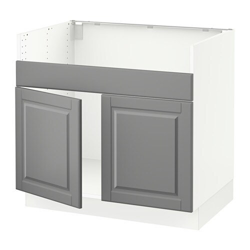 Sektion base cabinet f domsj 2 bowl sink white bodbyn for Ikea sektion kitchen cabinets