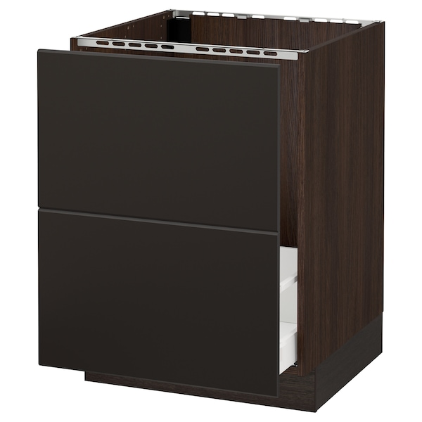 SEKTION Base cabinet f/sink & recycling, brown Maximera/Kungsbacka anthracite, 24x24x30 ""