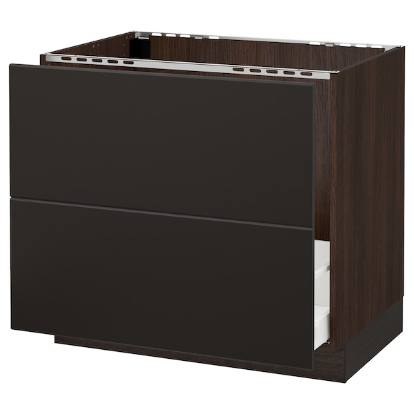 """SEKTION Base cabinet f/sink & recycling, brown Maximera/Kungsbacka anthracite, 36x24x30 """""""