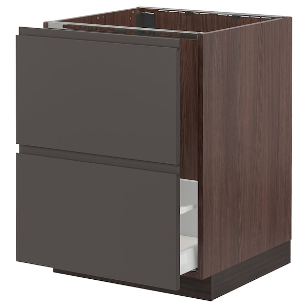 SEKTION Base cabinet f/sink & recycling, brown Maximera/Voxtorp dark gray, 24x24x30 ""