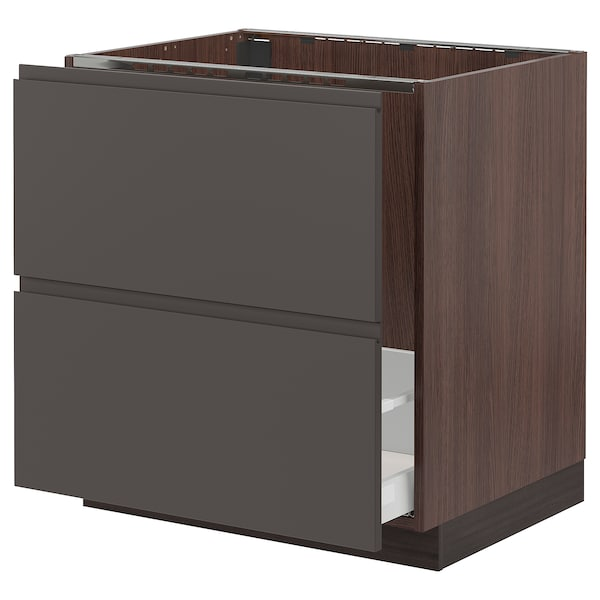 SEKTION Base cabinet f/sink & recycling, brown Maximera/Voxtorp dark gray, 30x24x30 ""