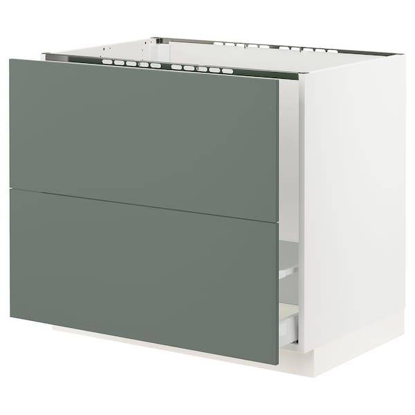 "SEKTION Base cabinet f/sink & recycling, white Maximera/Bodarp gray-green, 36x24x30 """